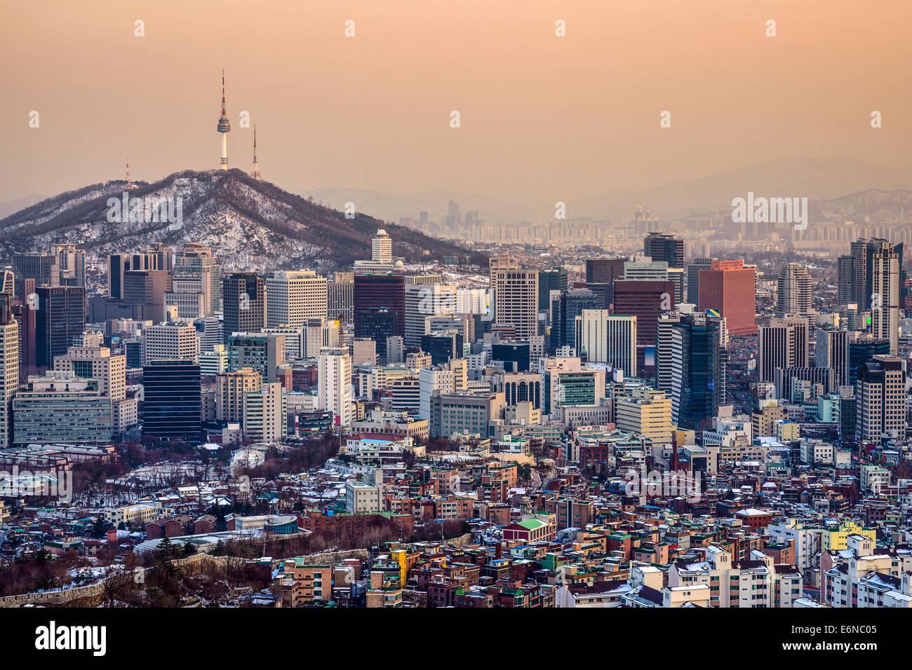 Séoul, Corée du Sud les toits de la ville. Photo Stock