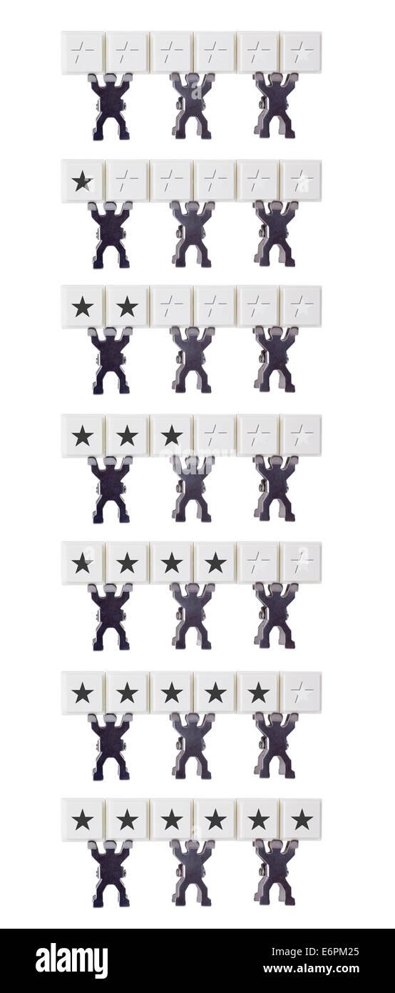 Échelle de cotation de 0 à 6 étoiles isolé sur fond blanc Photo Stock