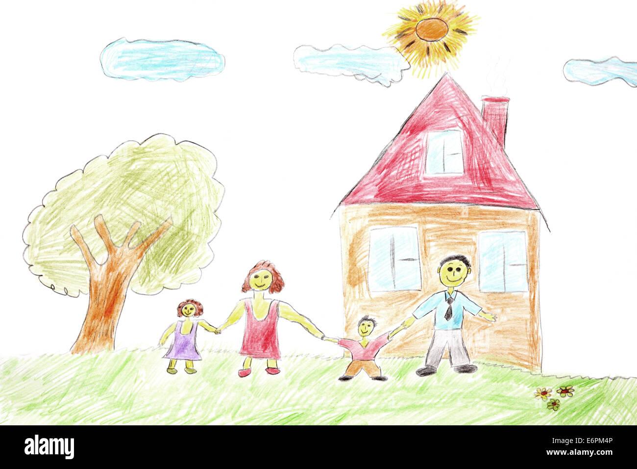 Dessin D Une Chambre D Enfant famille heureuse. dessin d'enfant d'une famille heureuse et