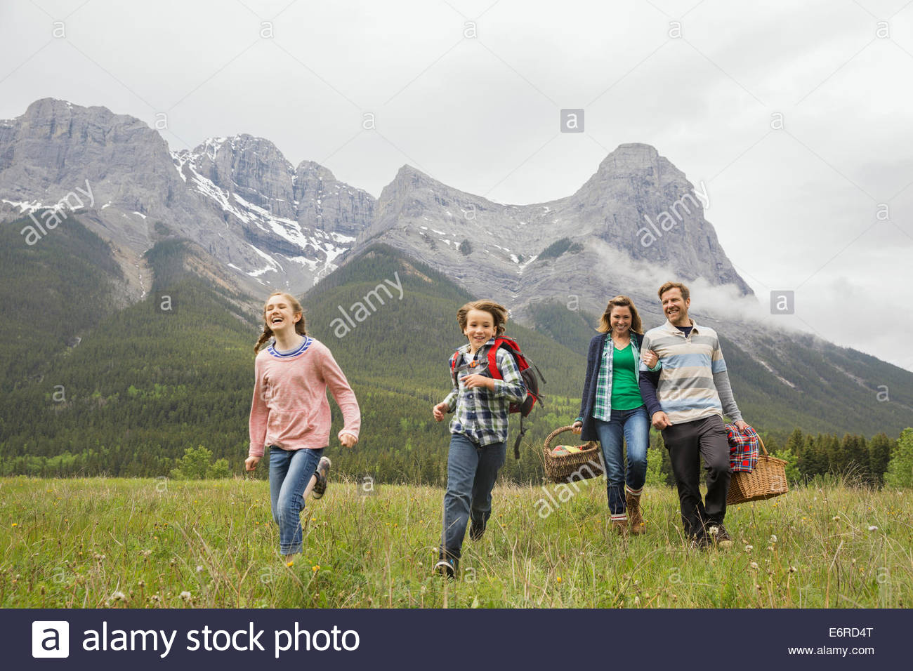 Family having picnic in rural field Photo Stock