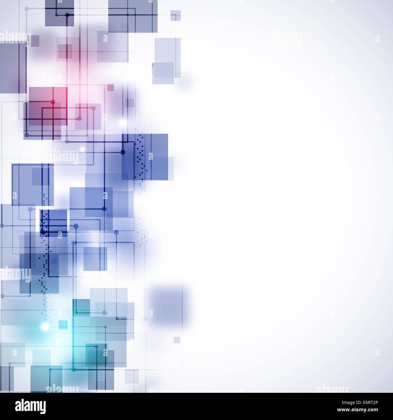 Résumé des lignes de la technologie sur le fond blanc Photo Stock