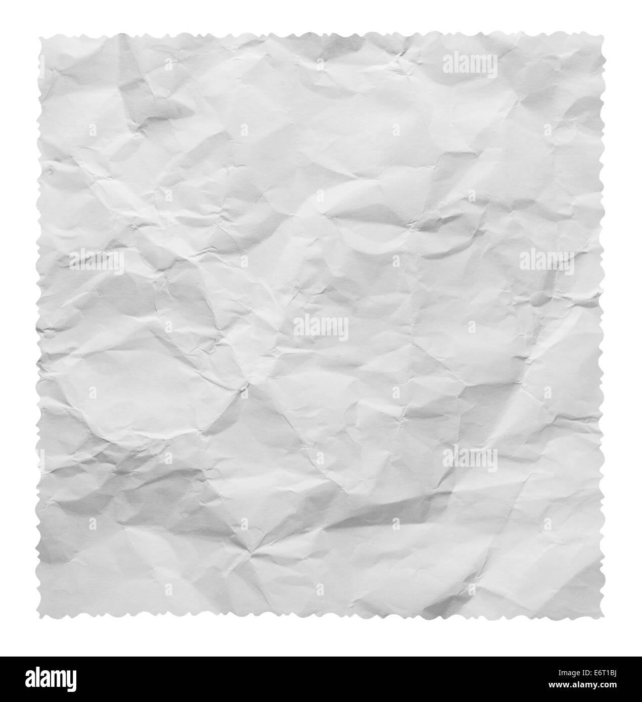 Papier froissé blanc texture de fond sur un fond blanc. Clipping Path Photo Stock
