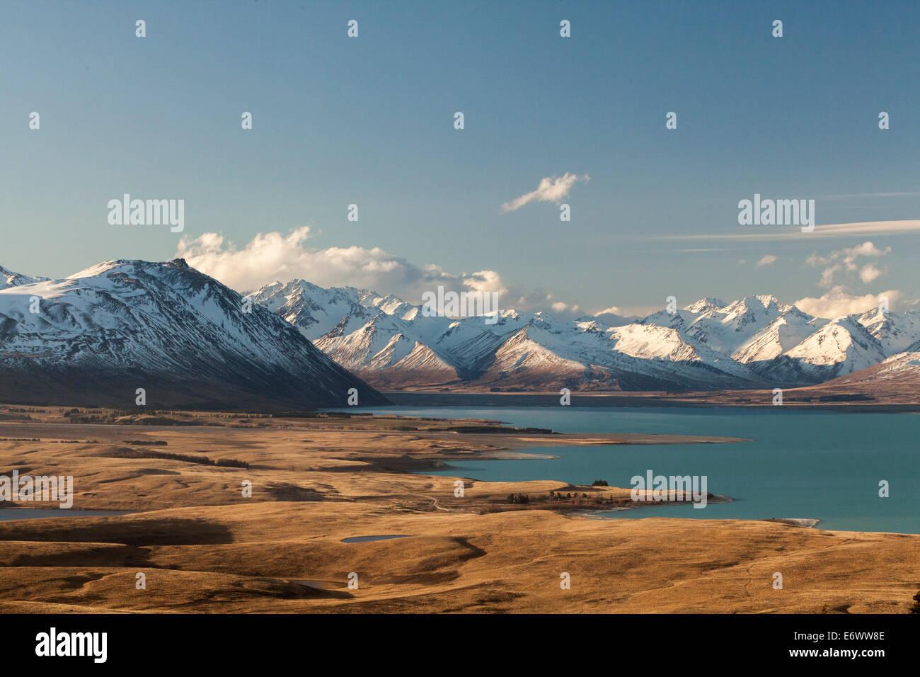 Vue du Mt. John, Tekapo, particules de roche qui a été présenté par les eaux de fonte glaciaire, Photo Stock
