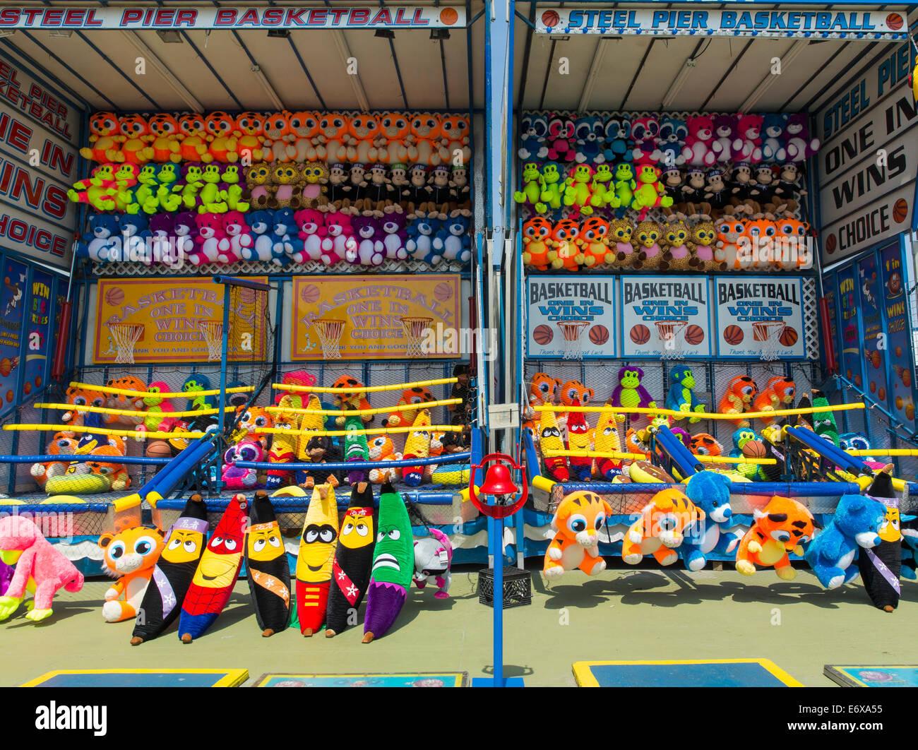 USA,New Jersey, Atlantic City, parc d'attractions Steel Pier, les jouets en peluche Photo Stock