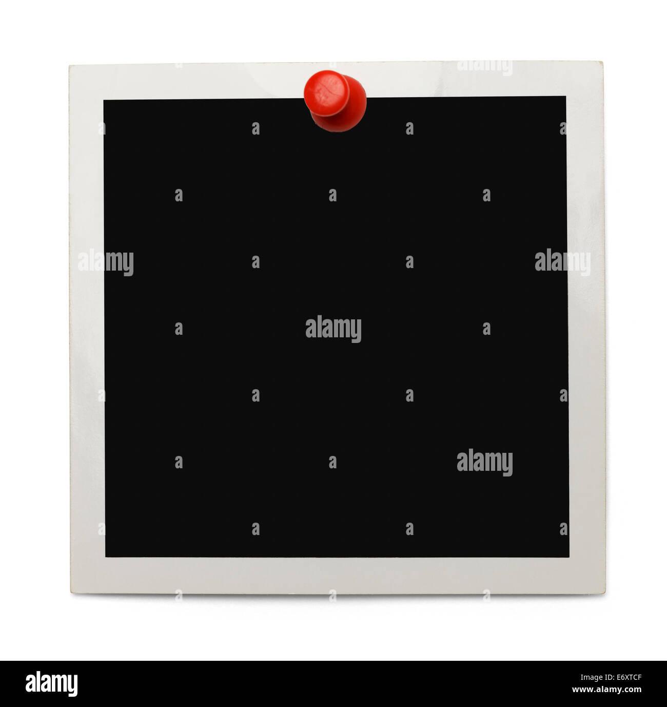 Vieille photo avec copie Espace et Red Thumb Tack isolé sur fond blanc. Photo Stock