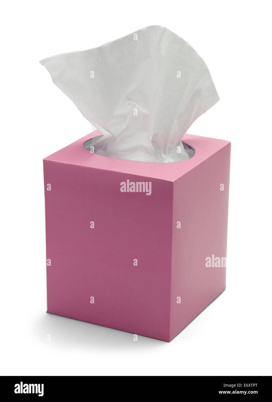 Boîte de tissus rose isolé sur fond blanc. Photo Stock