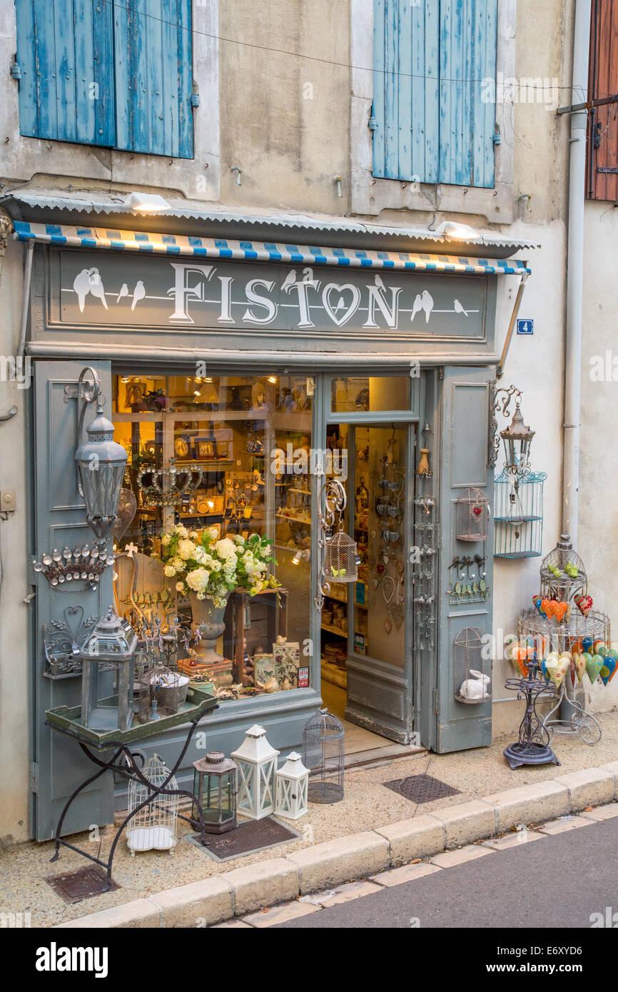 Boutique de charme à Saint Rémy de Provence, Provence, France Photo Stock