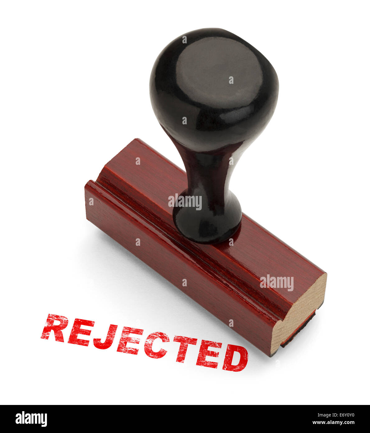 Avec le mot bois Stamper rejeté dans l'encre rouge isolé sur fond blanc. Photo Stock