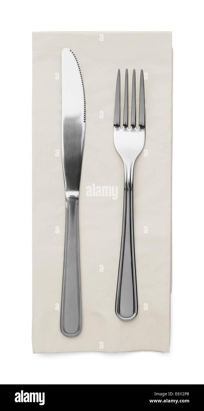 Couteau à Beurre et la fourche avec nappes isolé sur fond blanc. Photo Stock