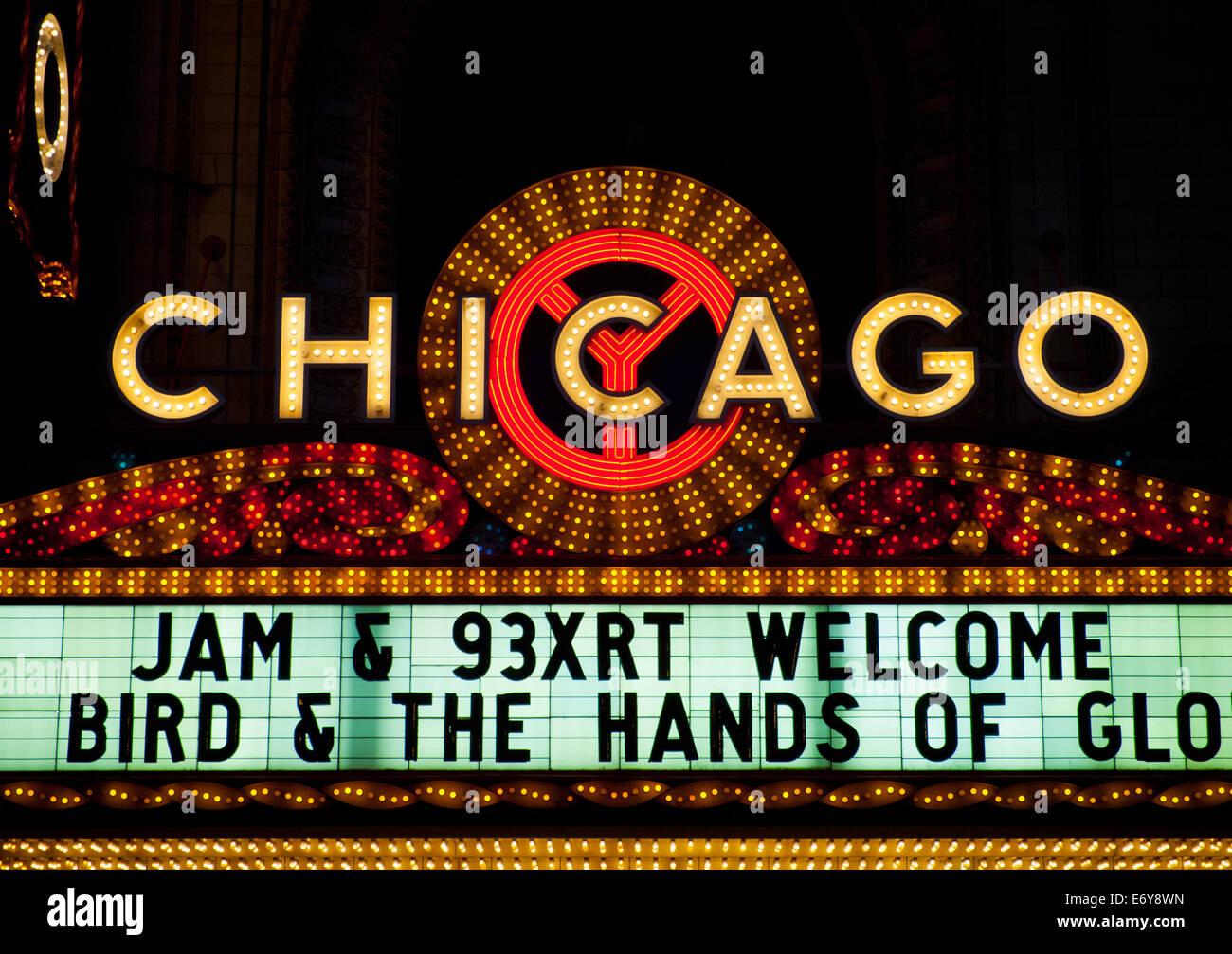 Le célèbre chapiteau de la Chicago Theatre. Photo Stock