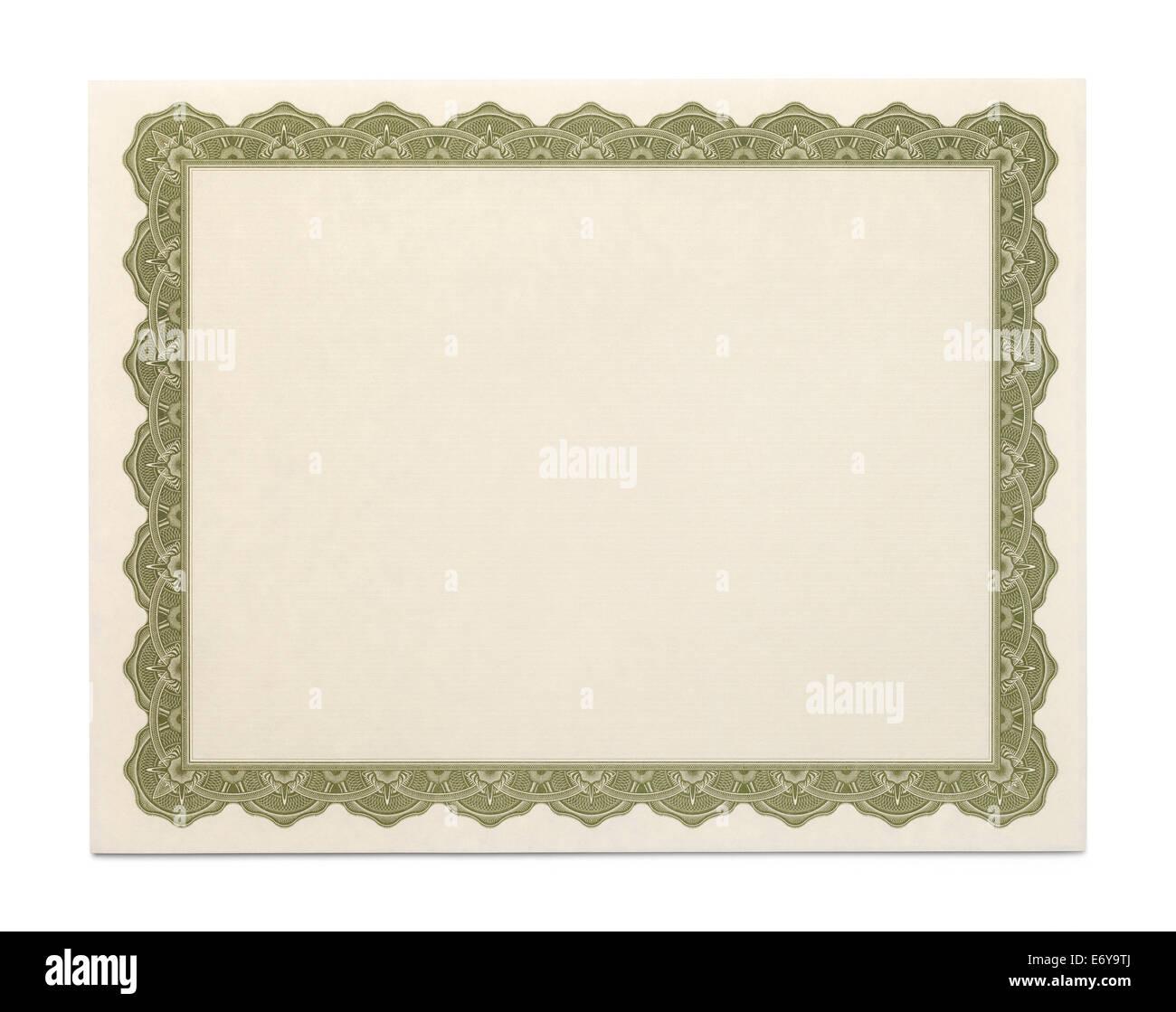 Grand Certificat avec copie espace isolé sur fond blanc. Photo Stock