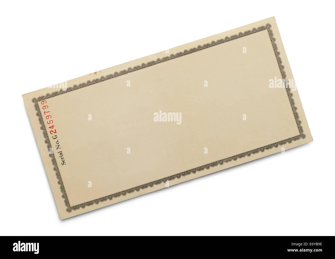 Certificat de papier orné avec copie espace isolé sur fond blanc. Photo Stock