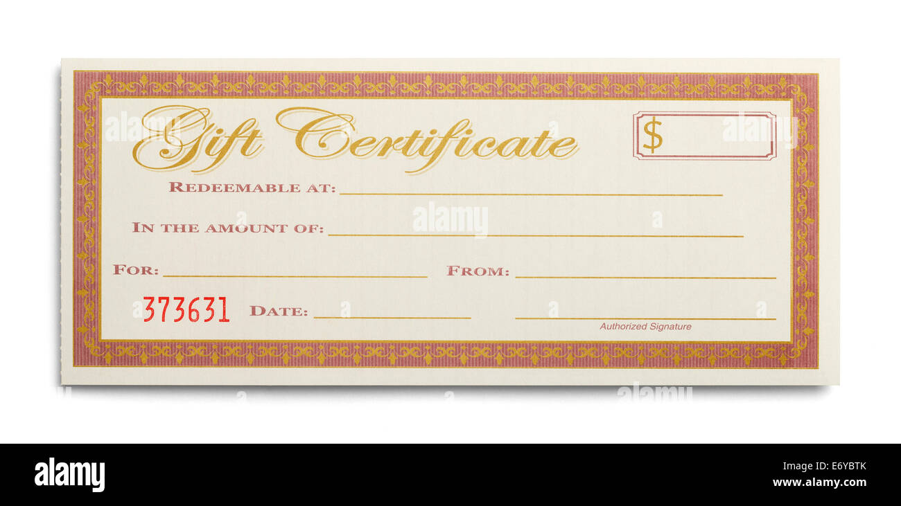 Certificat cadeau blanc isolé sur fond blanc. Photo Stock