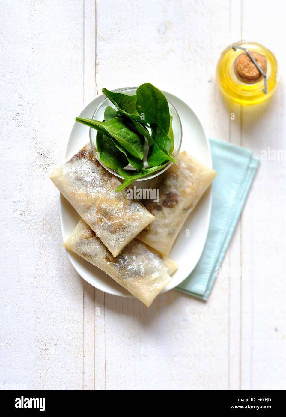 Boudin et rouleaux de pâte filo apple Photo Stock