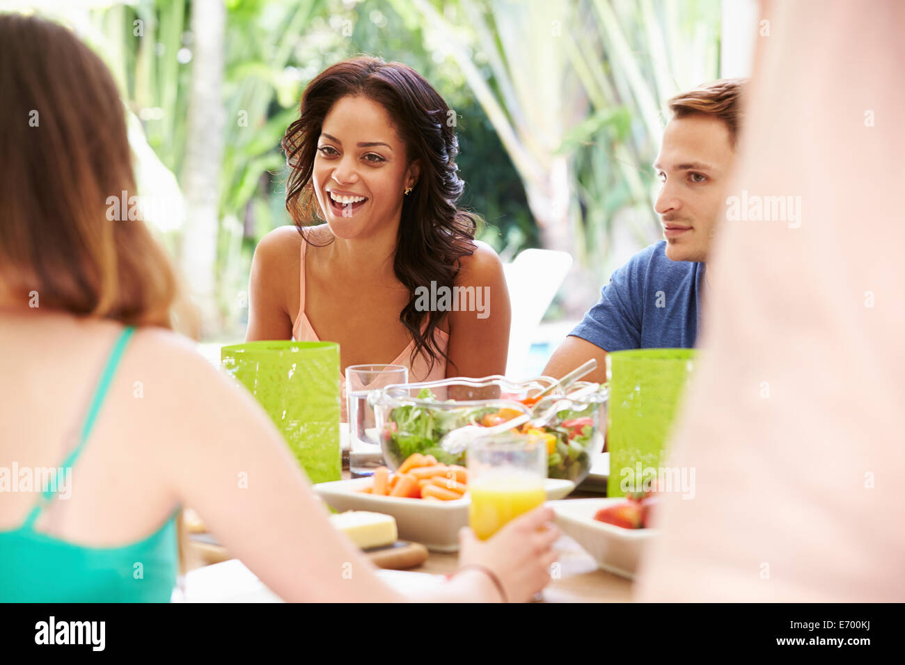 Group of Friends Enjoying Meal Outdoors At Home Photo Stock