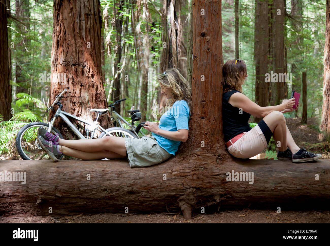 Deux femmes adultes regardant le smartphone et tablette numérique en forêt Banque D'Images