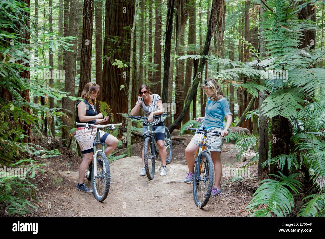Trois femmes adultes adeptes de vélo de montagne en utilisant les smartphones en forêt Photo Stock