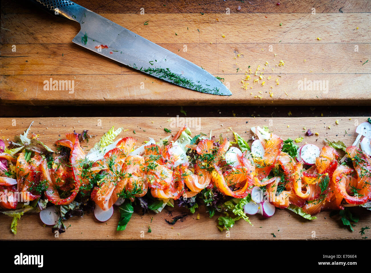 Salade de saumon Gravlax, still life Photo Stock