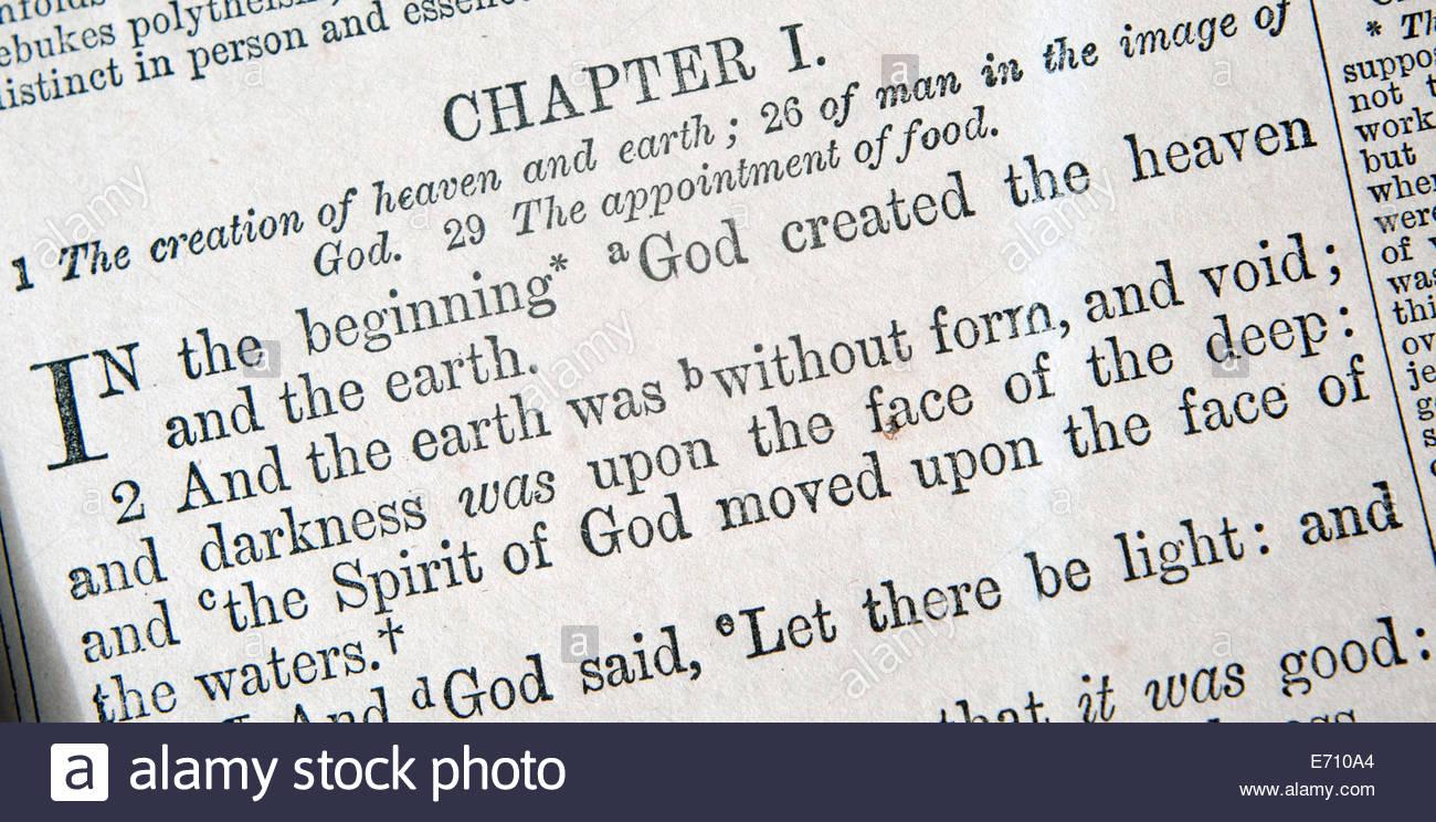 Verset de la Bible. La genèse. Photo Stock