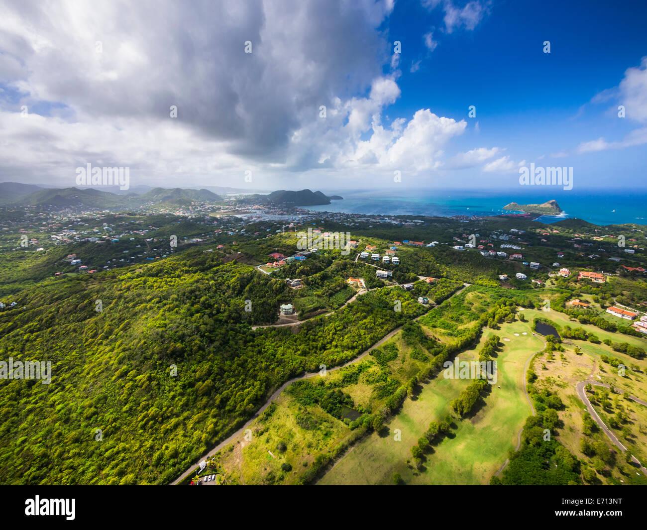 Caraïbes, Sainte-Lucie, Cap Estate, Cottan Bay Village, photo aérienne de la région de la baie de plantation Banque D'Images