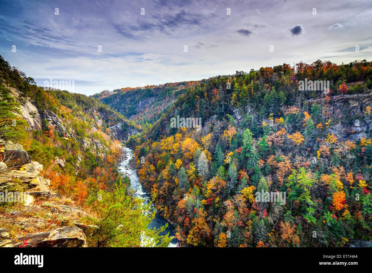 Gorges de Tallulah en Géorgie, USA au cours de saison d'automne. Photo Stock