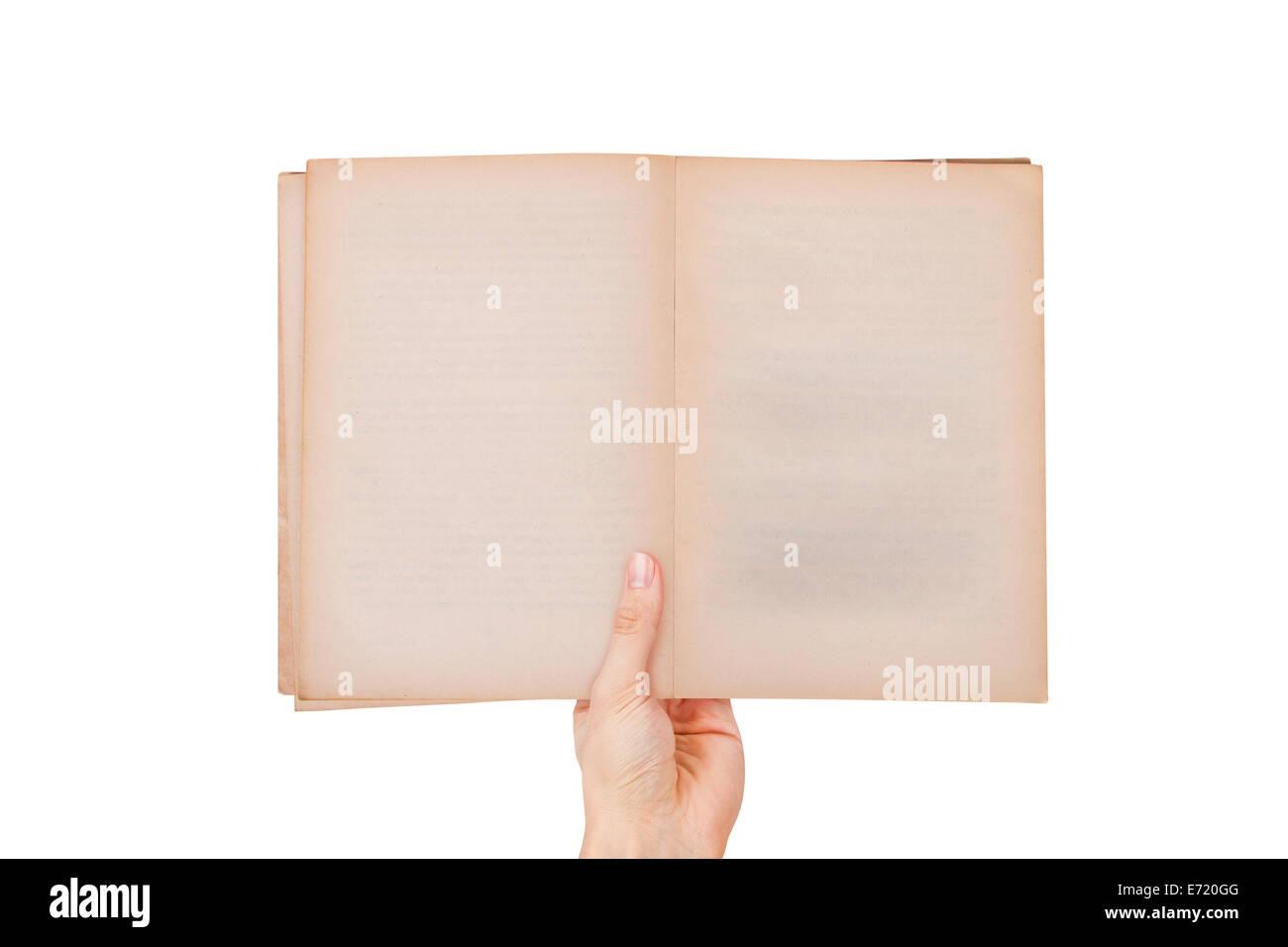 Homme hand holding blank ouvert vide et ancien style de livre avec copie espace pour votre message, vue du dessus, Photo Stock