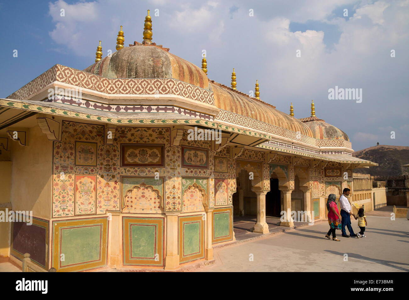Au-dessus du pavillon, porte Ganesh Bol Fort Amber Palace, Jaipur, Rajasthan, Inde, Asie Photo Stock
