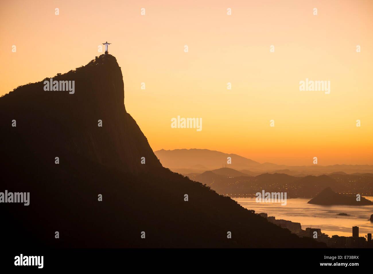Afficher du Chinois Vista à l'aube, Rio de Janeiro, Brésil, Amérique du Sud Photo Stock