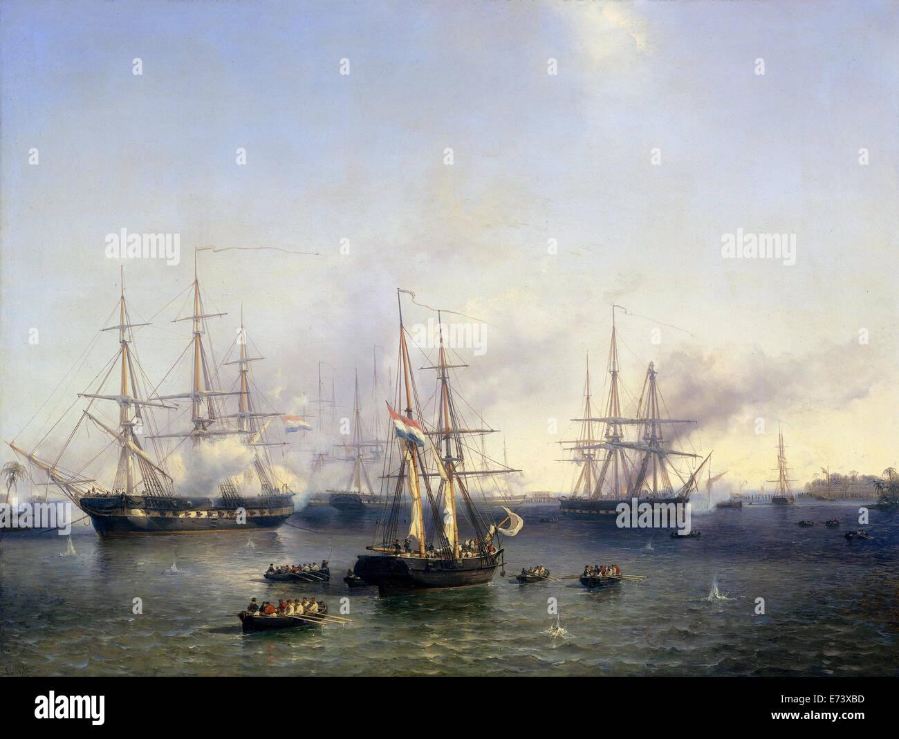 La conquête de Palembang (Sumatra) par le Lieutenant-général baron de Kock, 24 juin 1821 - par Louis Meijer, 1857 Banque D'Images