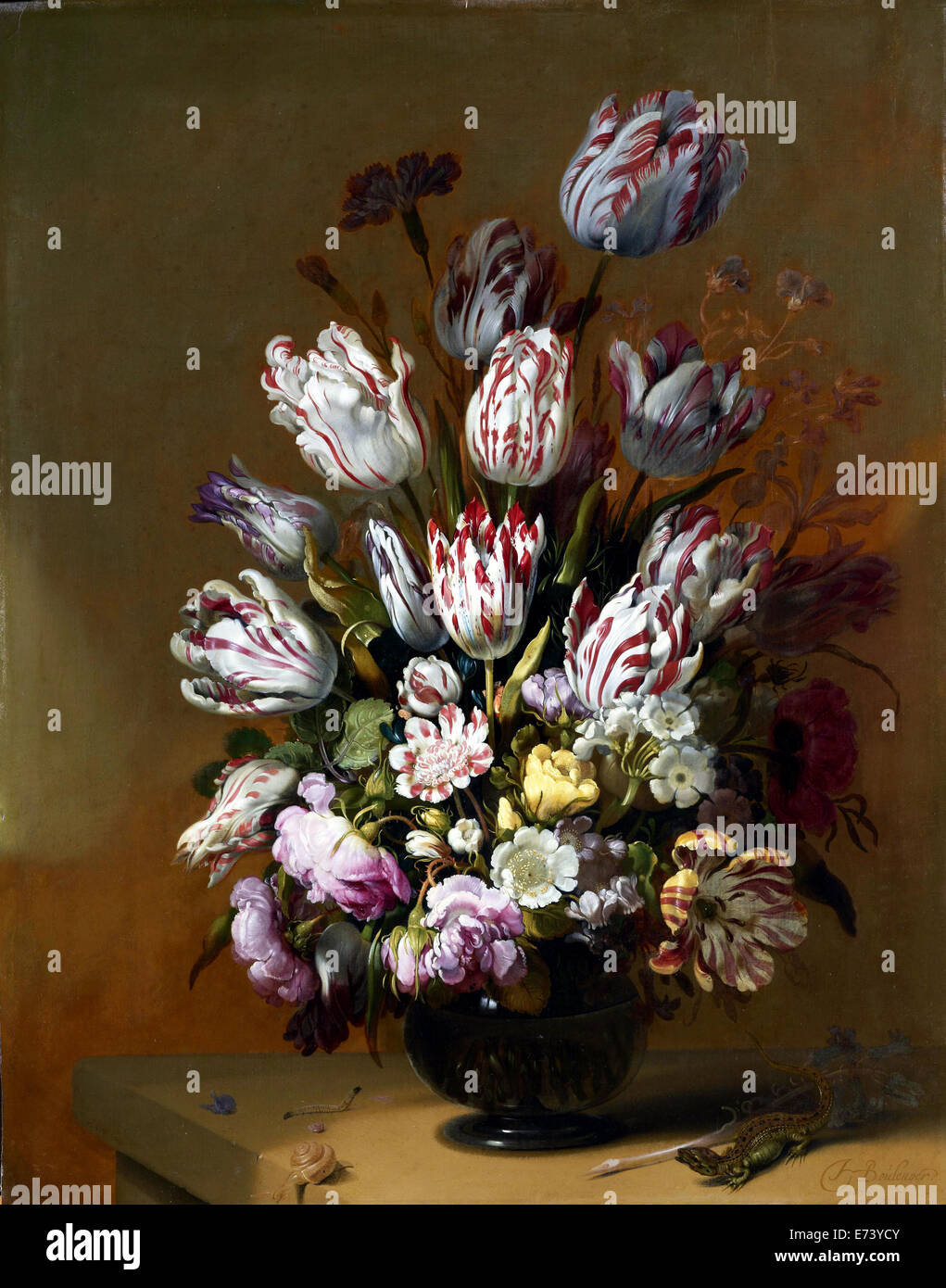 La vie toujours Floral - par Jean Cotelle, 1639 Photo Stock