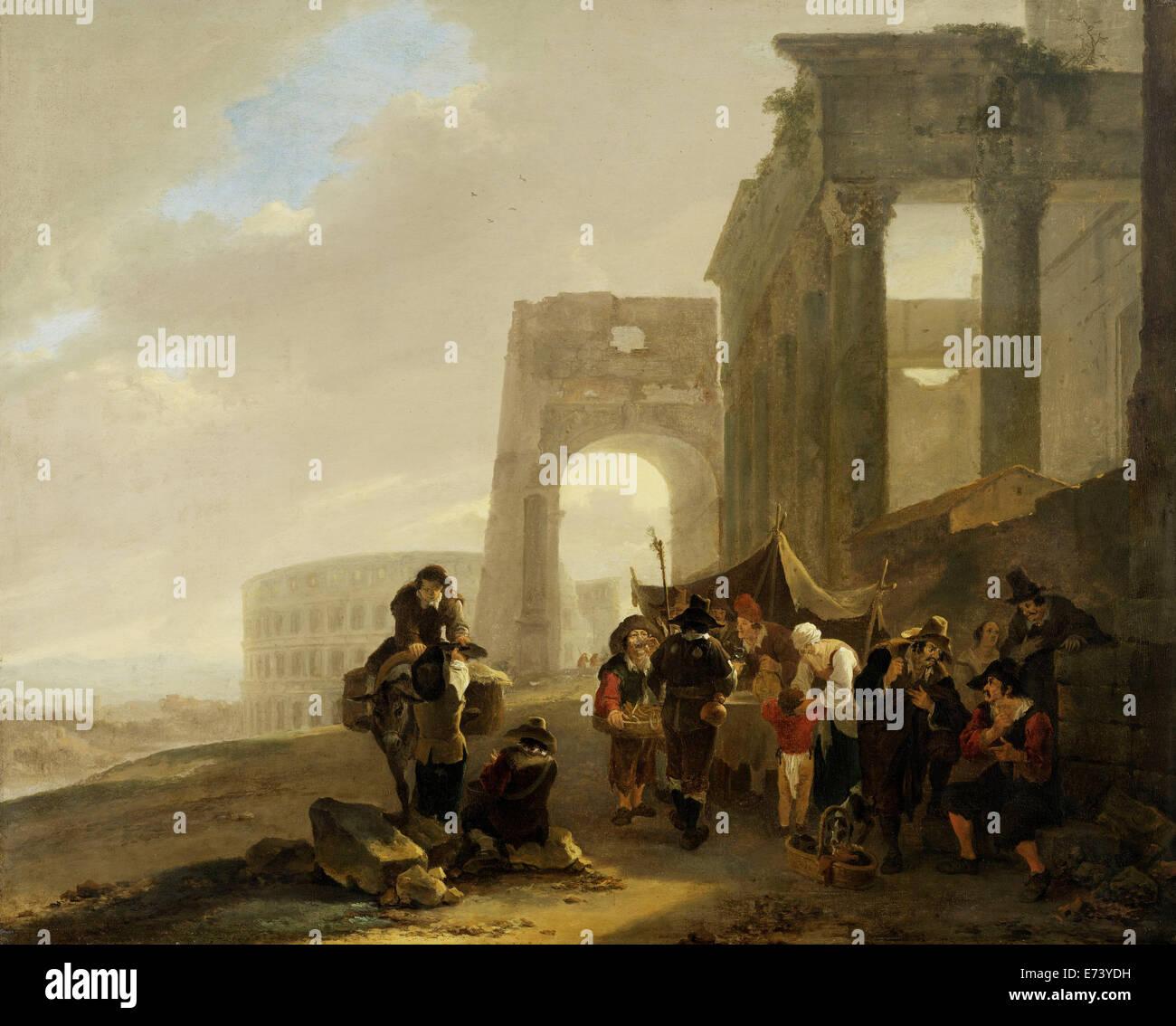 Scène Folk entre vestiges romains - par Jan, 1640 - 1652 Les deux Photo Stock