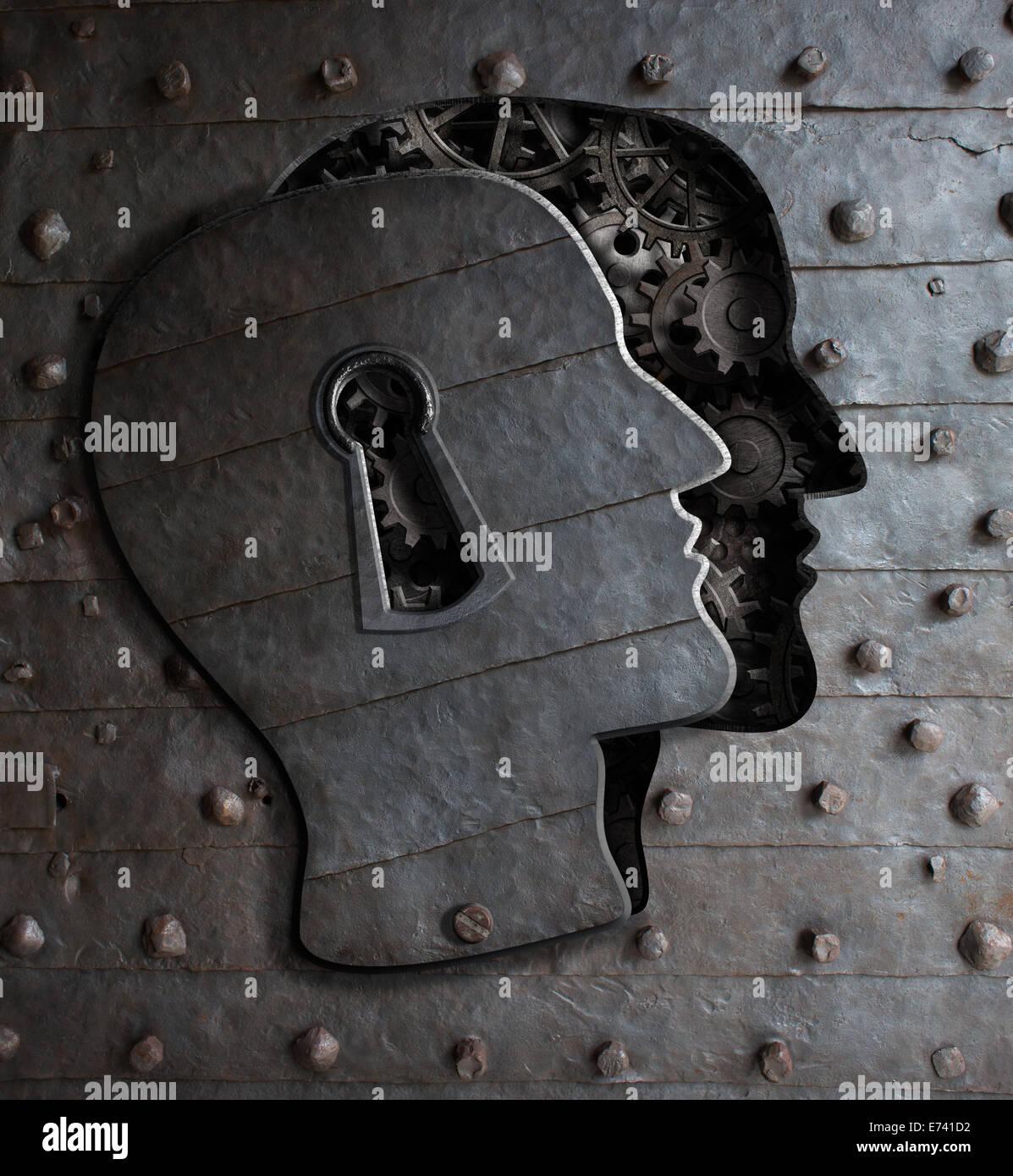 Cerveau humain porte avec serrure en métal concept engrenages et pignons Photo Stock