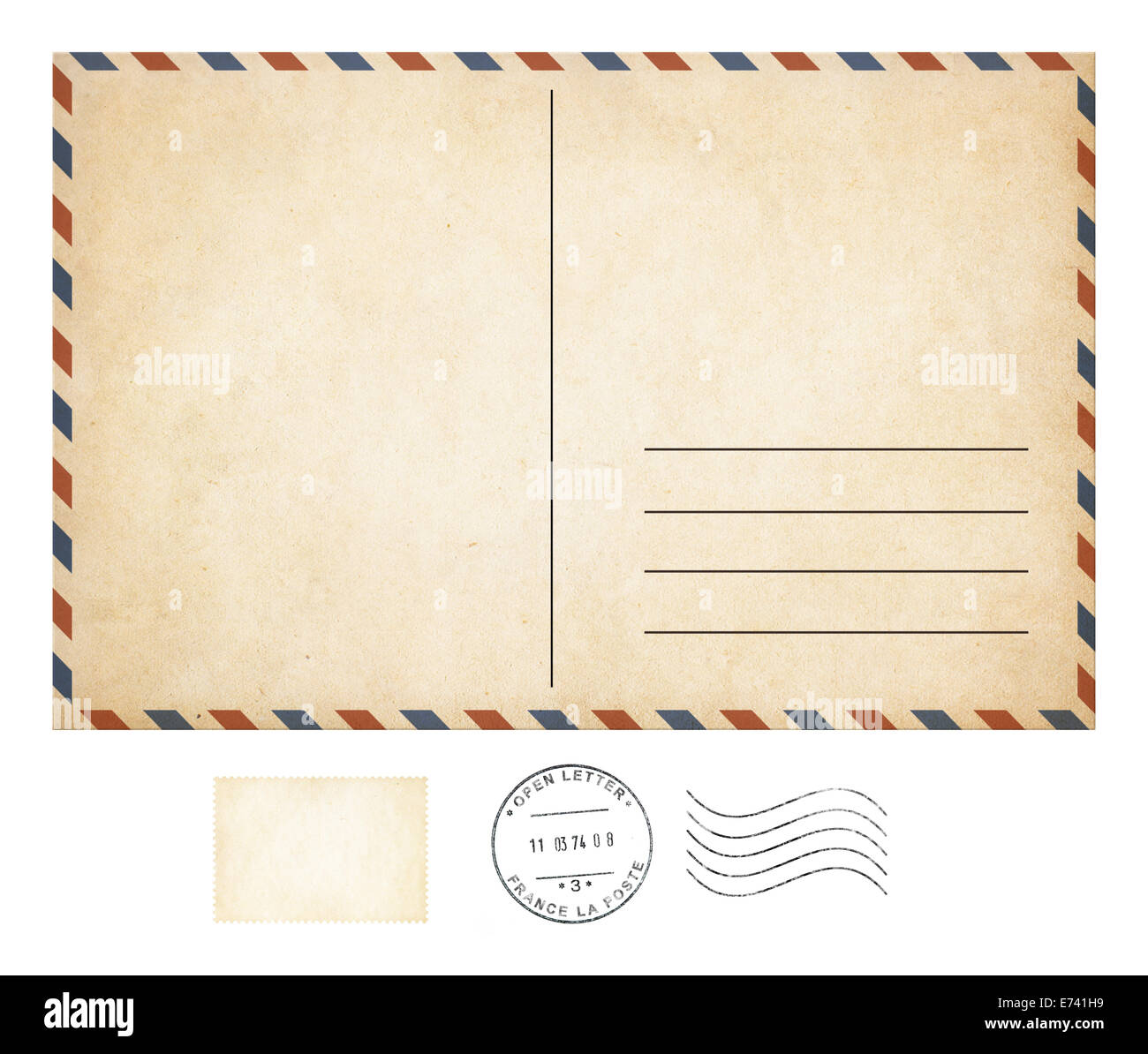 Old post card et stamp collection isolated Photo Stock