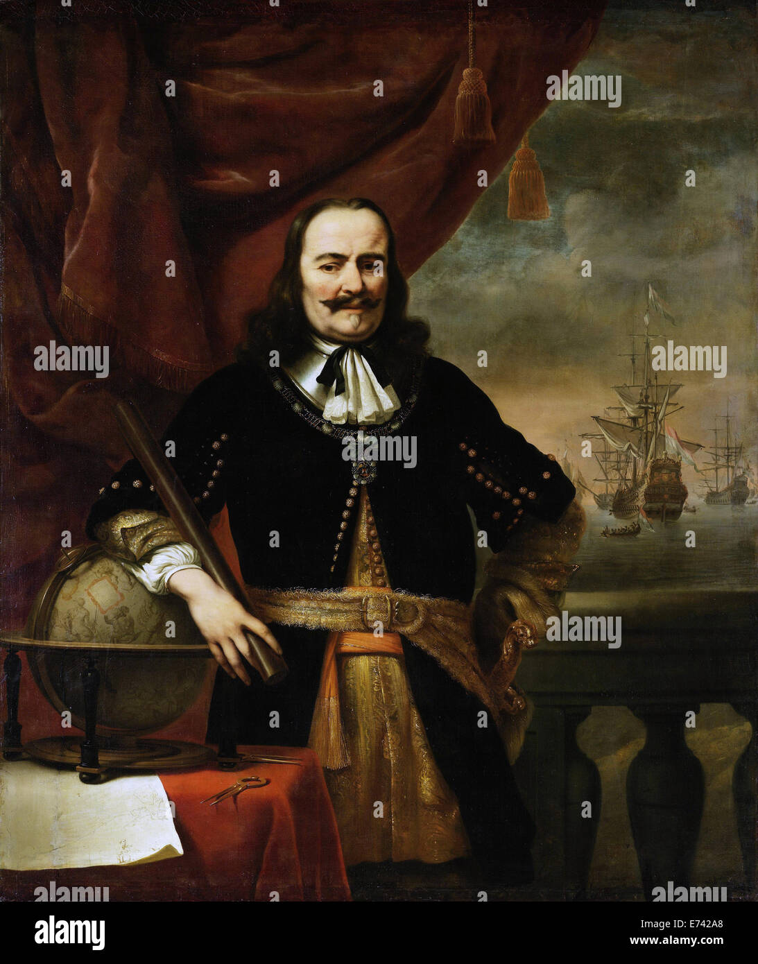 En tant que lieutenant-amiral Michiel de Ruyter - par Ferdinand Bol, 1667 Photo Stock