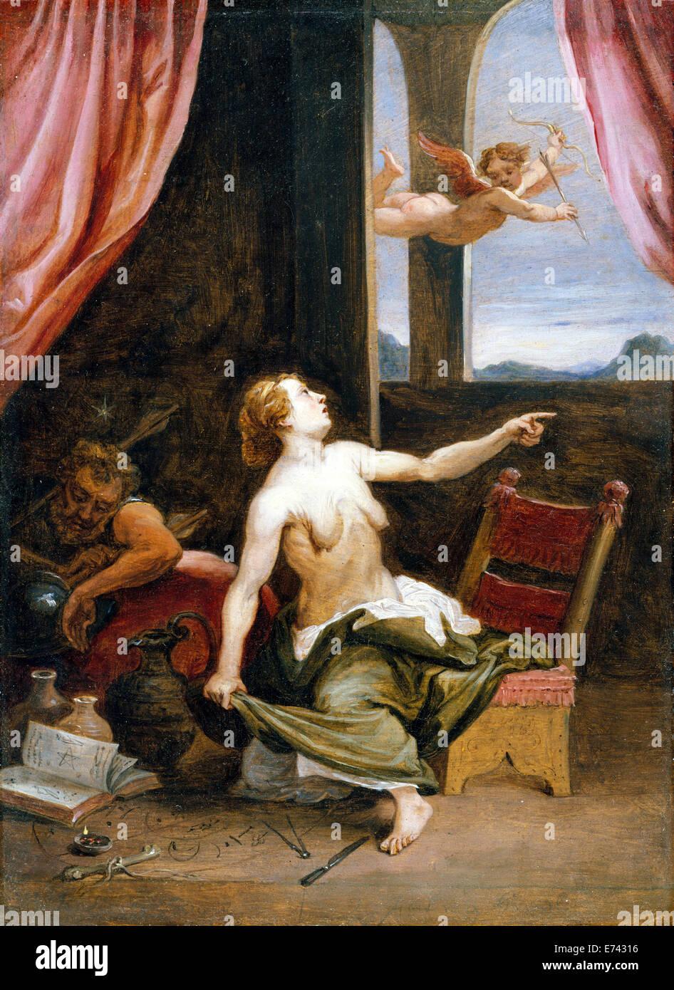 Dans la vieillesse de la jeunesse Recherche - par David Teniers le Jeune, 1650 Photo Stock