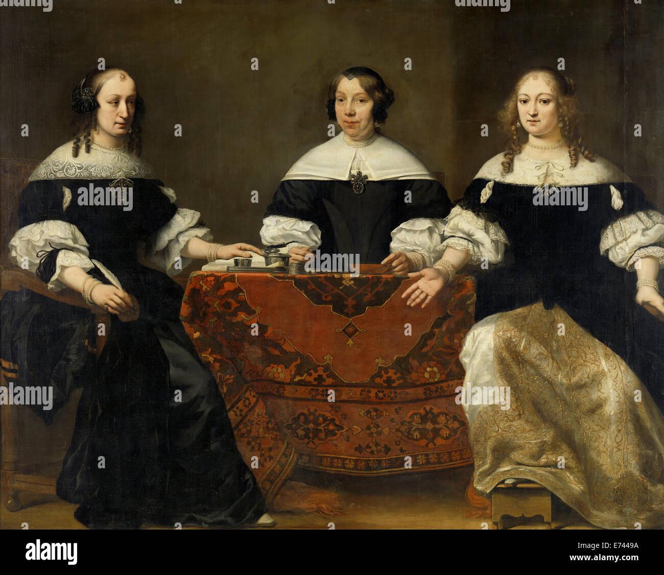 Portrait des trois Regentesses du Leprozenhuis, Amsterdam - par Ferdinand Bol, 1668 Photo Stock