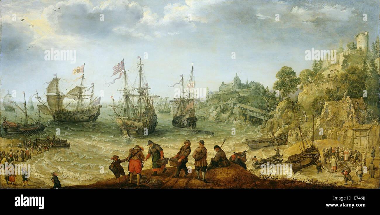 Navires à la côte rocheuse - par Adam Willaerts, 1621 Photo Stock