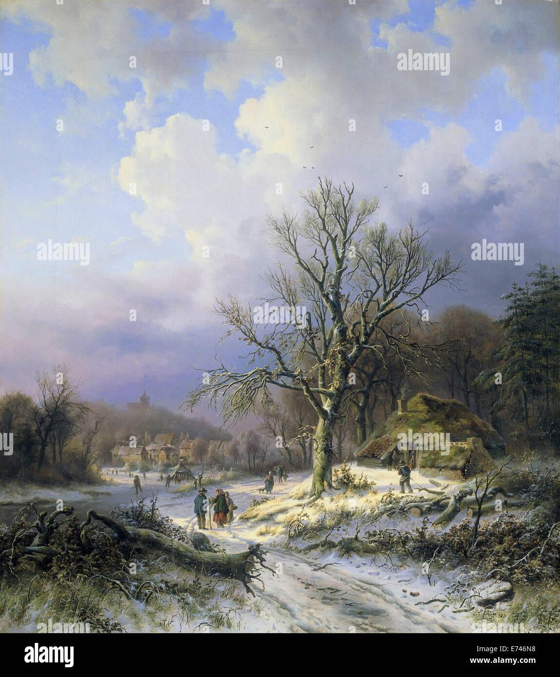 Paysage de neige - par Alexandre Joseph Daiwaille, 1845 Photo Stock