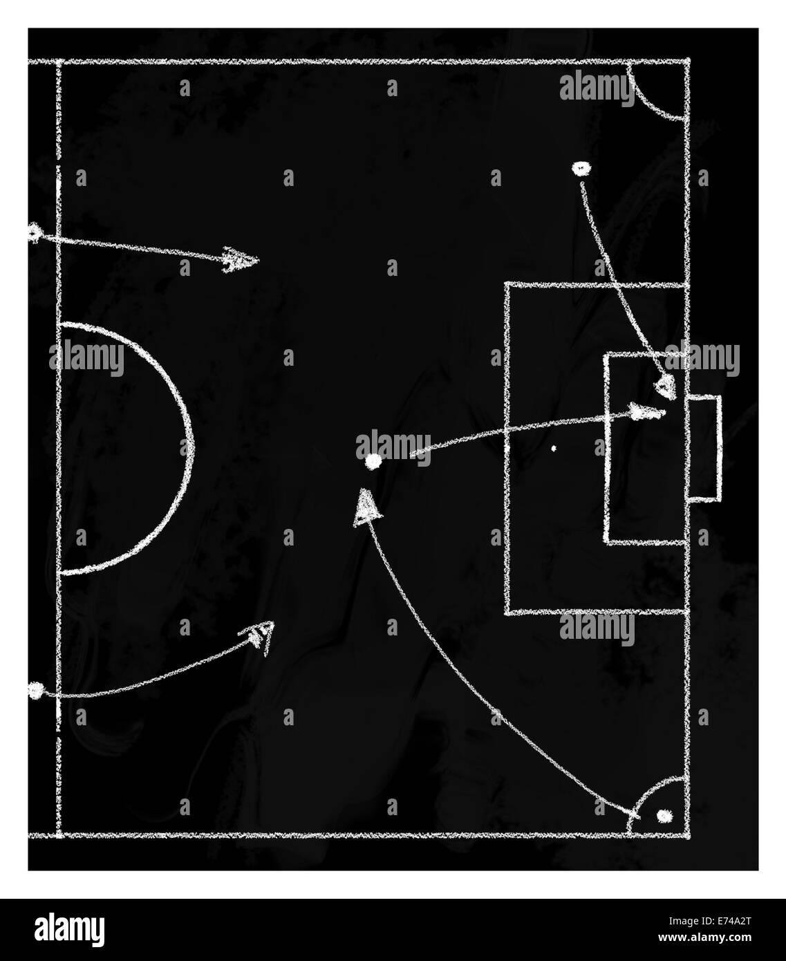 Croquis de tactiques de football sur tableau noir Photo Stock