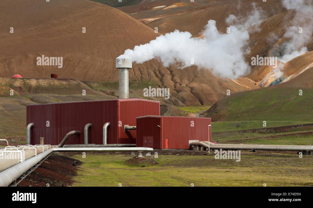 Gare centrale géothermique dans la région volcanique de Krafla Islande Photo Stock