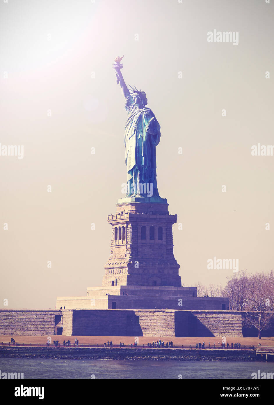 Vintage photo de Statue de la liberté, NEW YORK, USA. Photo Stock