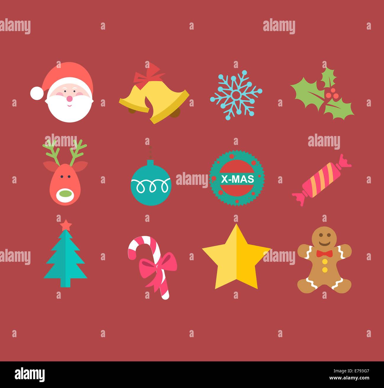 Définir les icônes de Noël Photo Stock
