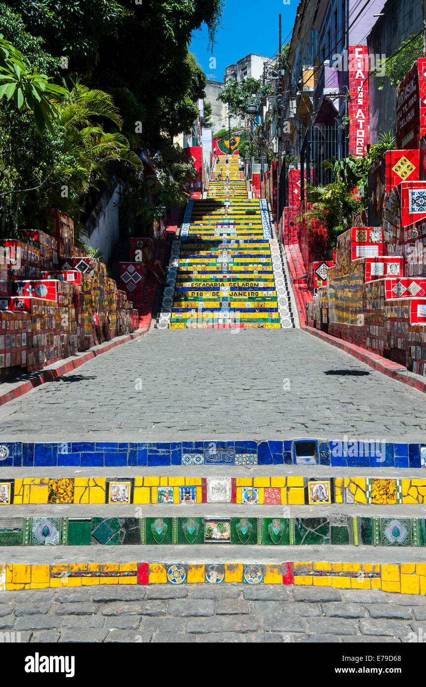 Escadaria Selarón étapes de Lapa, Rio de Janeiro, Brésil Photo Stock
