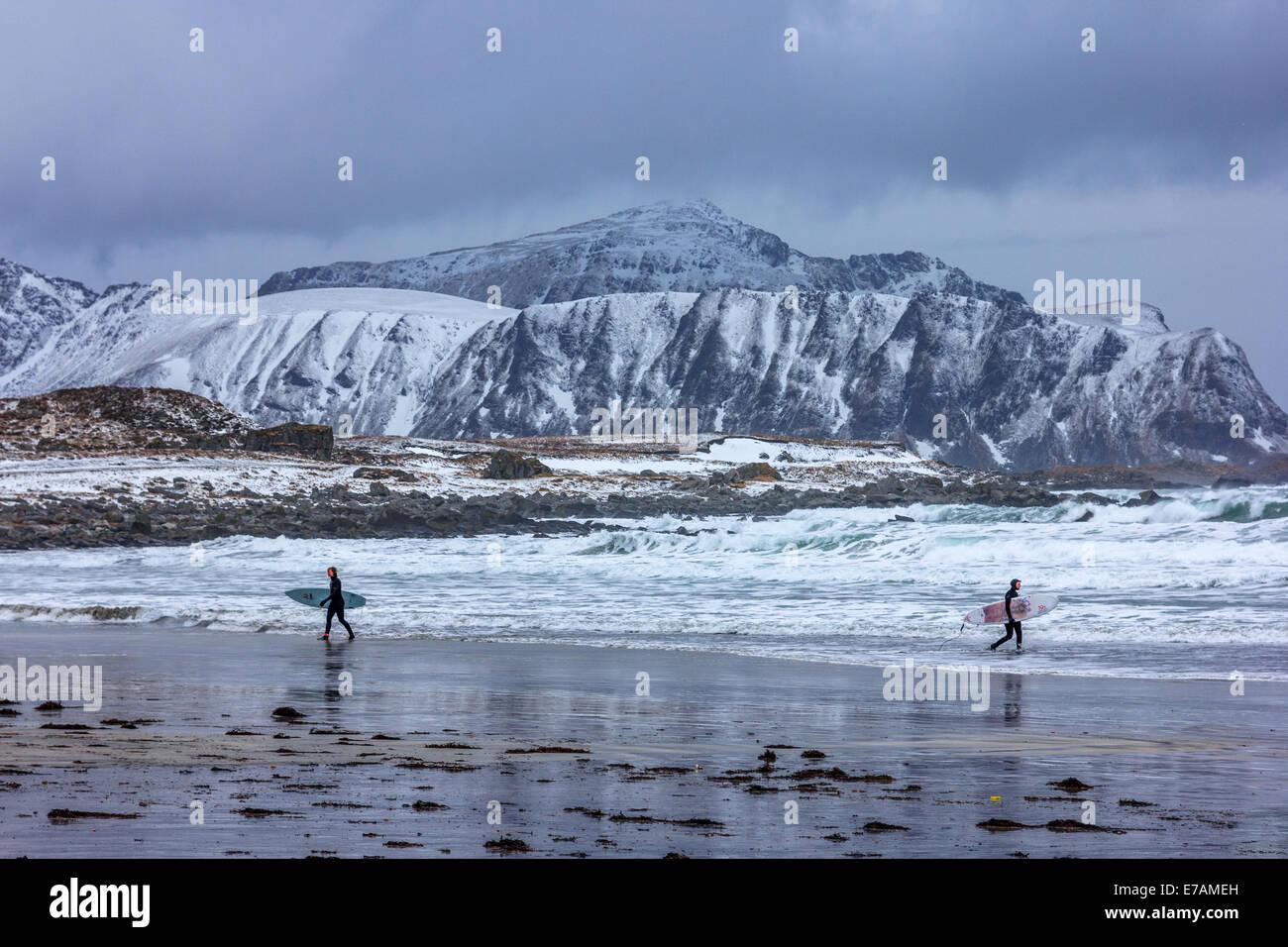 Les surfeurs d'hiver à l'îles Lofoten Photo Stock