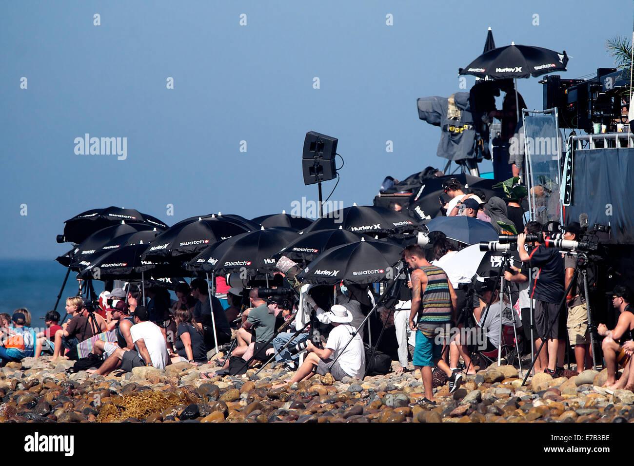 San Clemente, Californie, USA. 11 Septembre, 2014. La foule des fans, petite plage de galets à regarder leurs Photo Stock