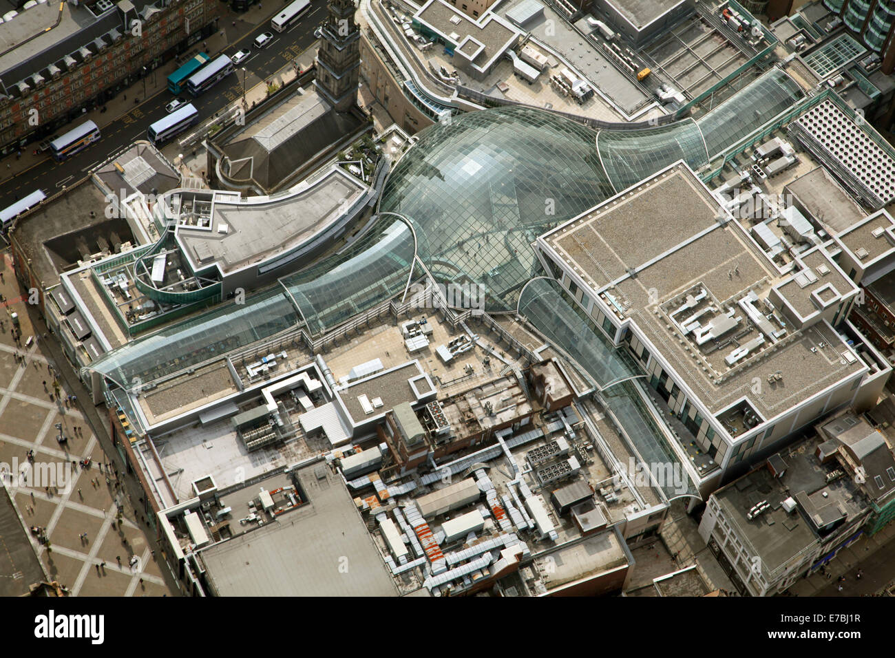 Vue aérienne du centre commercial Trinity Leeds, West Yorkshire, Royaume-Uni Photo Stock
