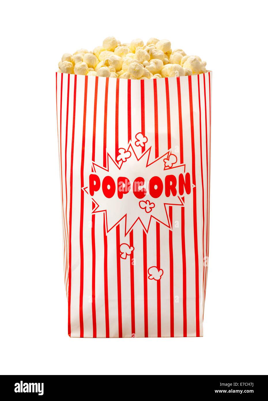 Sac Popcorn isolé sur un fond blanc. Photo Stock