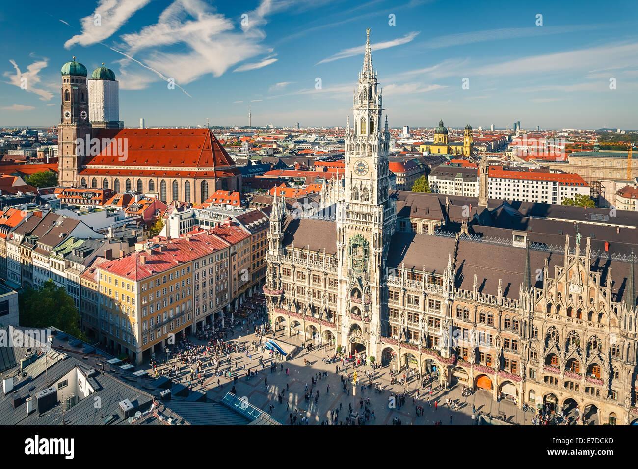 Vue aérienne sur le centre historique de Munich Photo Stock