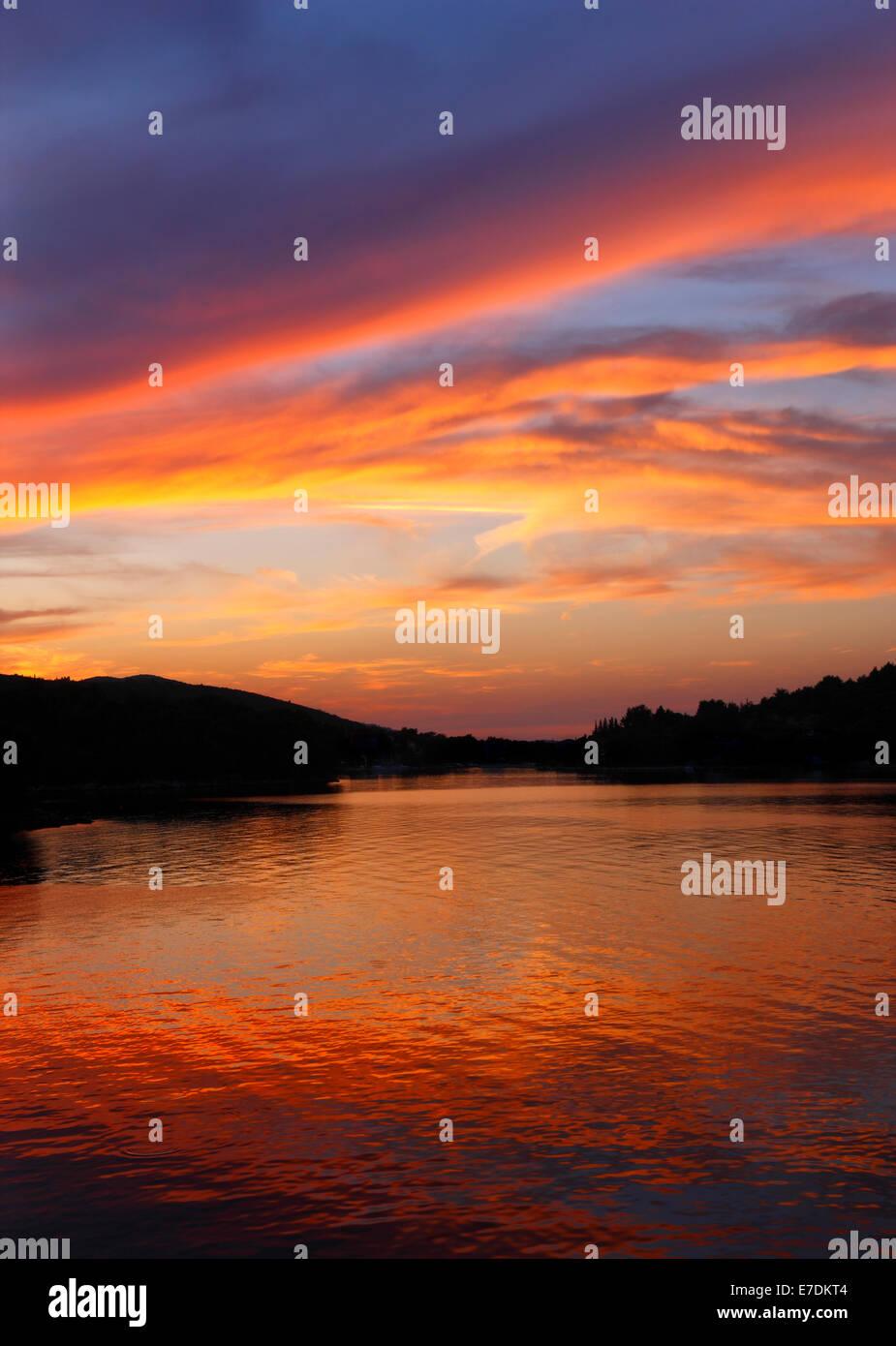 Coucher du soleil à Dugi Otok, Croatie Photo Stock