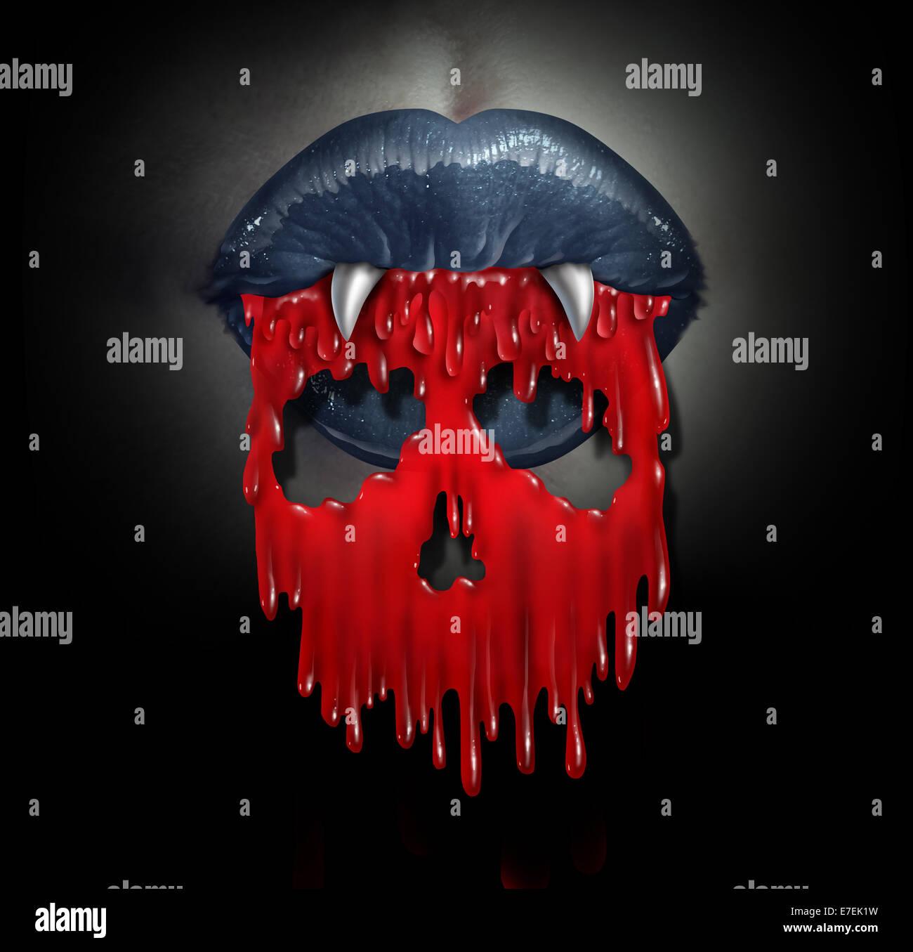 Sang de Vampire concept comme un symbole d'horreur de démon sanguinaire liquide rouge lèvres déversant Photo Stock